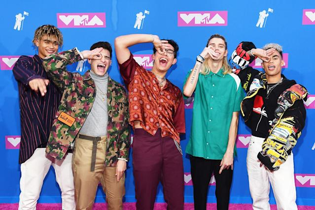 <p>From left to right: Zion Kuwonu, Nick Mara, Brandon Arreaga, Austin Porter and Edwin Honoret of PRETTYMUCH attend the 2018 MTV Video Music Awards at Radio City Music Hall on August 20, 2018 in New York City. (Photo: Nicholas Hunt/Getty Images for MTV) </p>