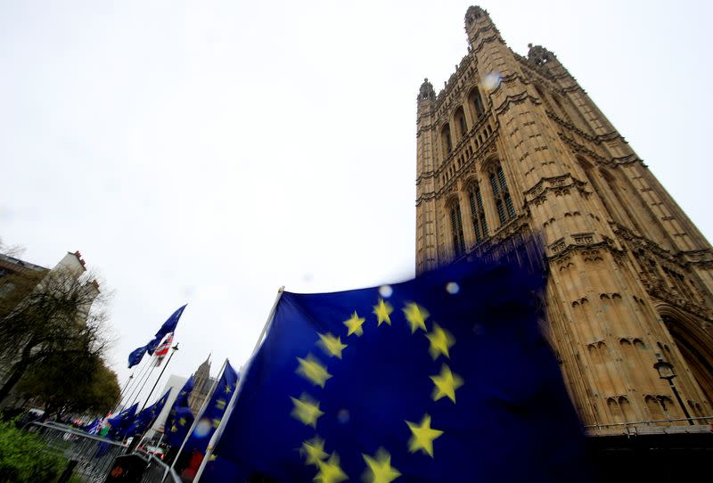 European Union flags are seen outside the Houses of Parliament in London
