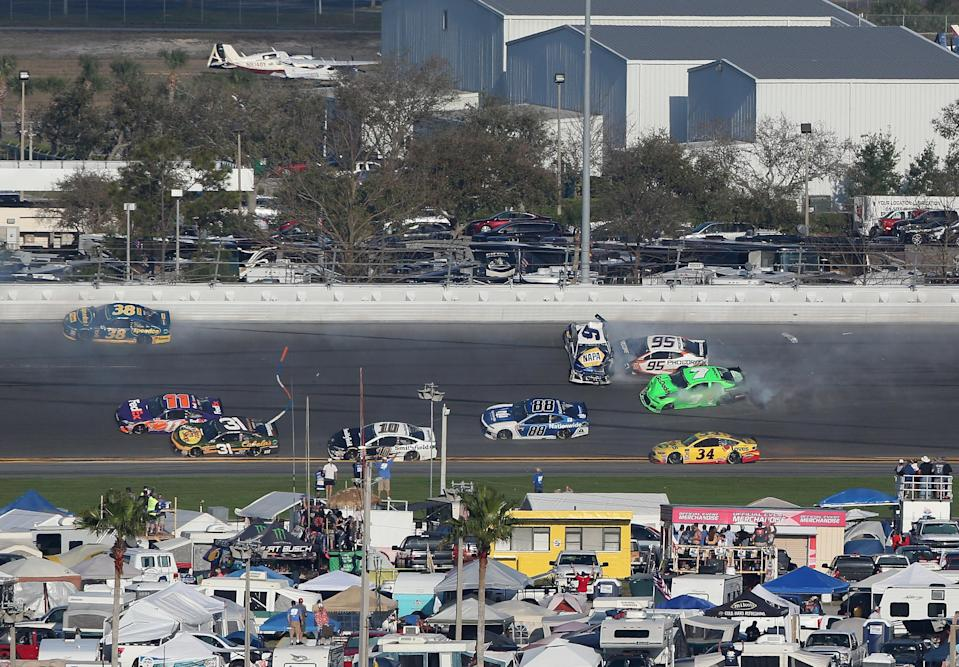 A wreck in the middle of stage 2 of the 2018 Daytona 500 collected Chase Elliott, Danica Patrick and others.