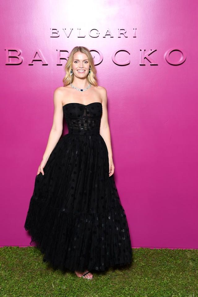 <p>Spencer wore a strapless Dolce & Gabbana gown with Bulgari jewels to the event. </p>