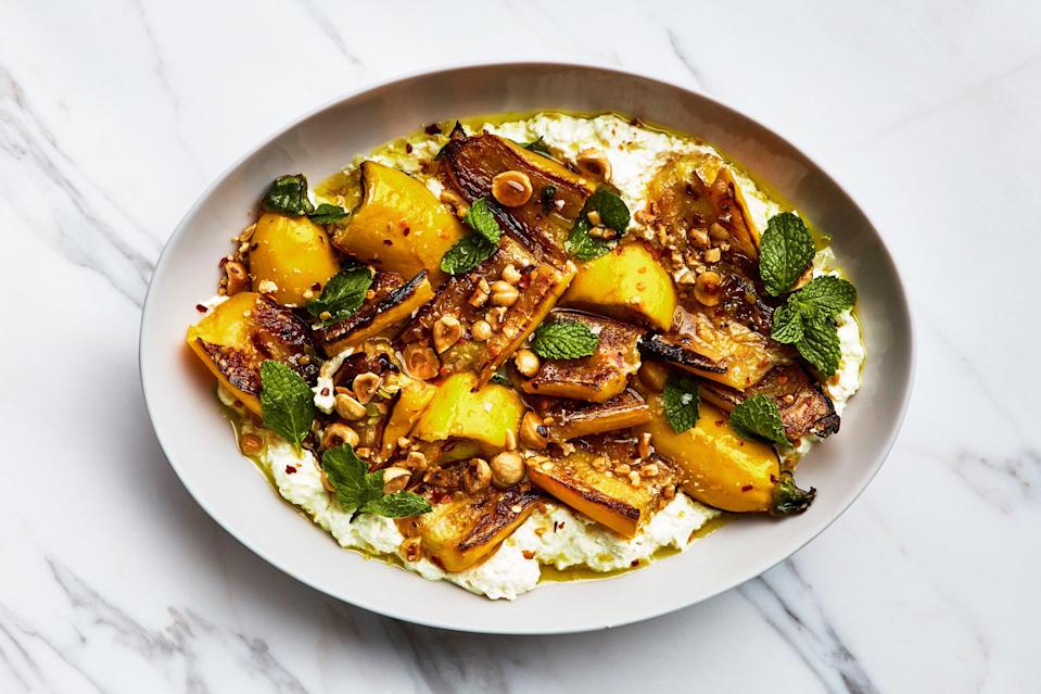 "Toss raw halved squash with salt and let it sit for at least ten minutes (and up to 30) to draw out some liquid, and then pat dry with paper towels. This also seasons it from the inside out, concentrating the flavor. <a href=""https://www.epicurious.com/recipes/food/views/marinated-summer-squash-with-hazelnuts-and-ricotta?mbid=synd_yahoo_rss"" rel=""nofollow noopener"" target=""_blank"" data-ylk=""slk:See recipe."" class=""link rapid-noclick-resp"">See recipe.</a>"