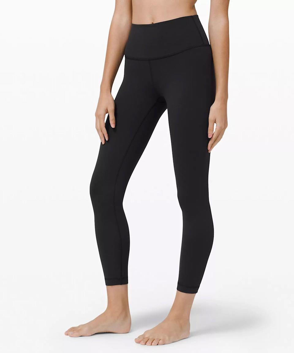 """<p><strong>Lululemon</strong></p><p>lululemon.com</p><p><strong>$98.00</strong></p><p><a href=""""https://go.redirectingat.com?id=74968X1596630&url=https%3A%2F%2Fshop.lululemon.com%2Fp%2Fwomen-pants%2FWunder-Under-HR-78-Tight%2F_%2Fprod8430902&sref=https%3A%2F%2Fwww.goodhousekeeping.com%2Fclothing%2Fg27206929%2Fbest-black-leggings%2F"""" rel=""""nofollow noopener"""" target=""""_blank"""" data-ylk=""""slk:Shop Now"""" class=""""link rapid-noclick-resp"""">Shop Now</a></p><p>Lululemon makes our list again, this time for its <strong>soft, matte fabric that our testers said stayed in place like second-skin throughout their workouts</strong> – i.e. perfect for the moving and stretching you'll do in exercises like <a href=""""https://www.goodhousekeeping.com/health-products/a25921042/best-yoga-mats/"""" rel=""""nofollow noopener"""" target=""""_blank"""" data-ylk=""""slk:yoga"""" class=""""link rapid-noclick-resp"""">yoga</a>.</p><p>Our panel especially liked that they didn't have to adjust the leggings (no waistband rolling or wedgies!) and they didn't restrict movement. On top of that, these leggings proved to be breathable, opaque, and durable in our tests. This style has a high waist and 7/8 length, but it comes in other variations.</p>"""