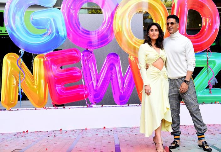Akshay Kumar and Kareena Kapoor Khan during the trailer launch of 'Good Newwz' in Mumbai last month. (Photo by Sujit Jaiswal / AFP via Getty Images)