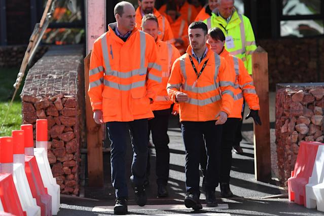 The Duke of Cambridge (left) during a visit to the Tarmac National Skills and Safety Park in Nottinghamshire. (Press Association)