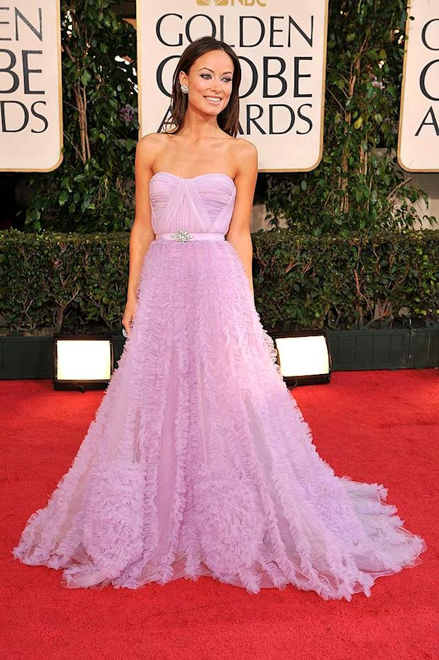 """Olivia Wilde's lavender Reem Acra loser of a dress belonged on a Barbie, not a Golden Globes attendee. Steve Granitz/<a href=""""http://www.wireimage.com"""" target=""""new"""">WireImage.com</a> - January 11, 2009"""
