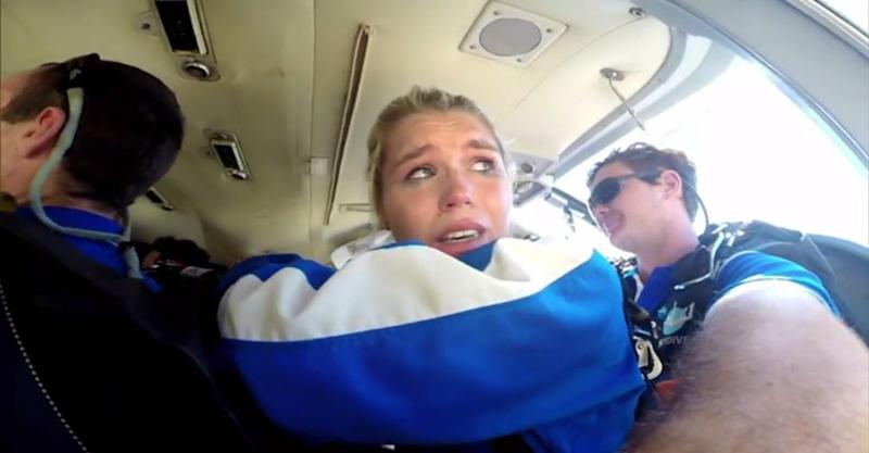 She's on the early flight to brown town. Photo: Channel Ten