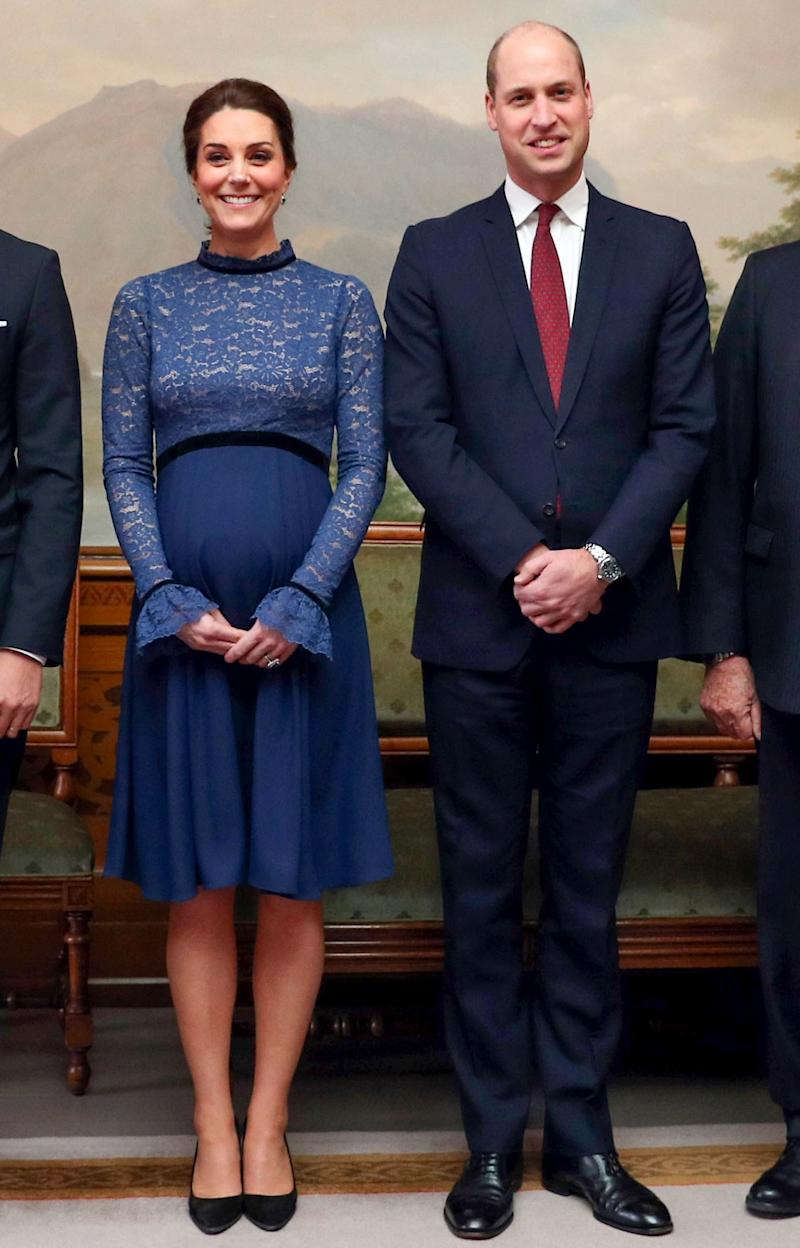 February 1: To meet Norway's king and queen, we have Kate in blue yet again! (In case it hasn't fully registered, she has really been wearing a whole lot of blue this pregnancy.)