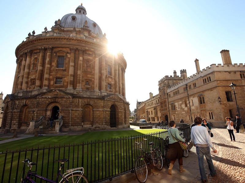 The Radcliffe Camera, a building belonging to the University of Oxford, is shown in the centre of Oxford.