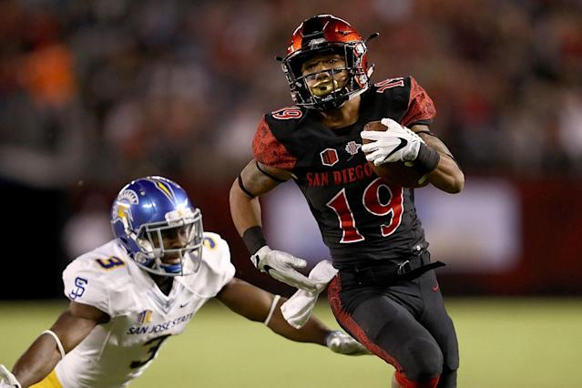 SDSU's Donnel Pumphrey is climbing the Heisman ranks, but will continue to need stirring performances to win. (Getty)