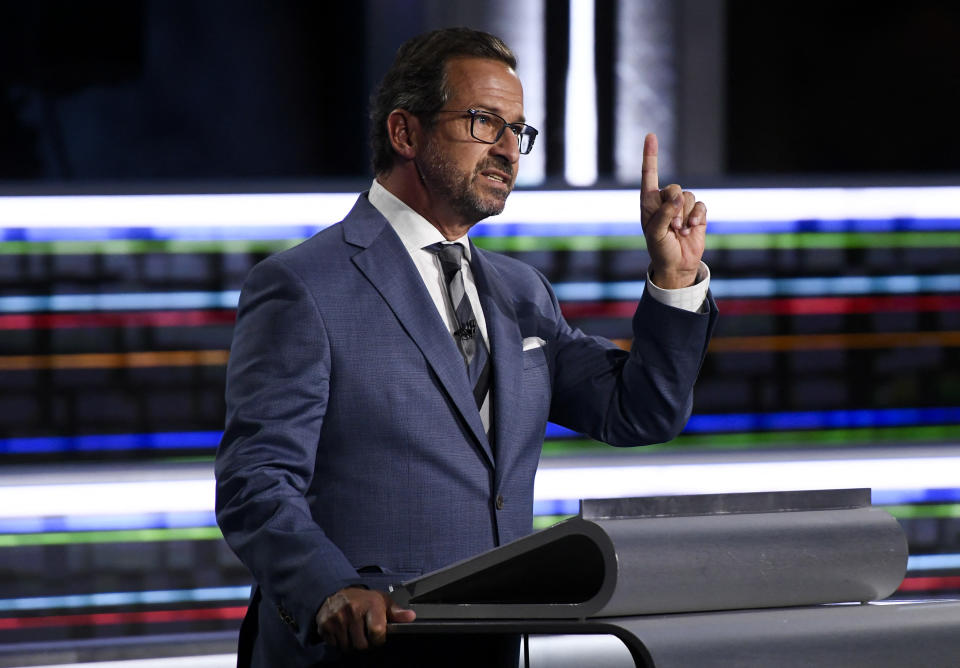 Bloc Quebecois Leader Yves-Francois Blanchet speaks during the federal election English-language Leaders debate in Gatineau, Quebec, Canada on September 9, 2021. (Photo by Justin Tang / POOL / AFP) (Photo by JUSTIN TANG/POOL/AFP via Getty Images)