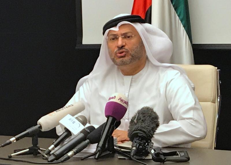 UAE Minister of State for Foreign Affairs Anwar Gargash talks during a news conference in Dubai, United Arab Emirates, June 24, 2017. REUTERS/Abdel Hadi Ramahi