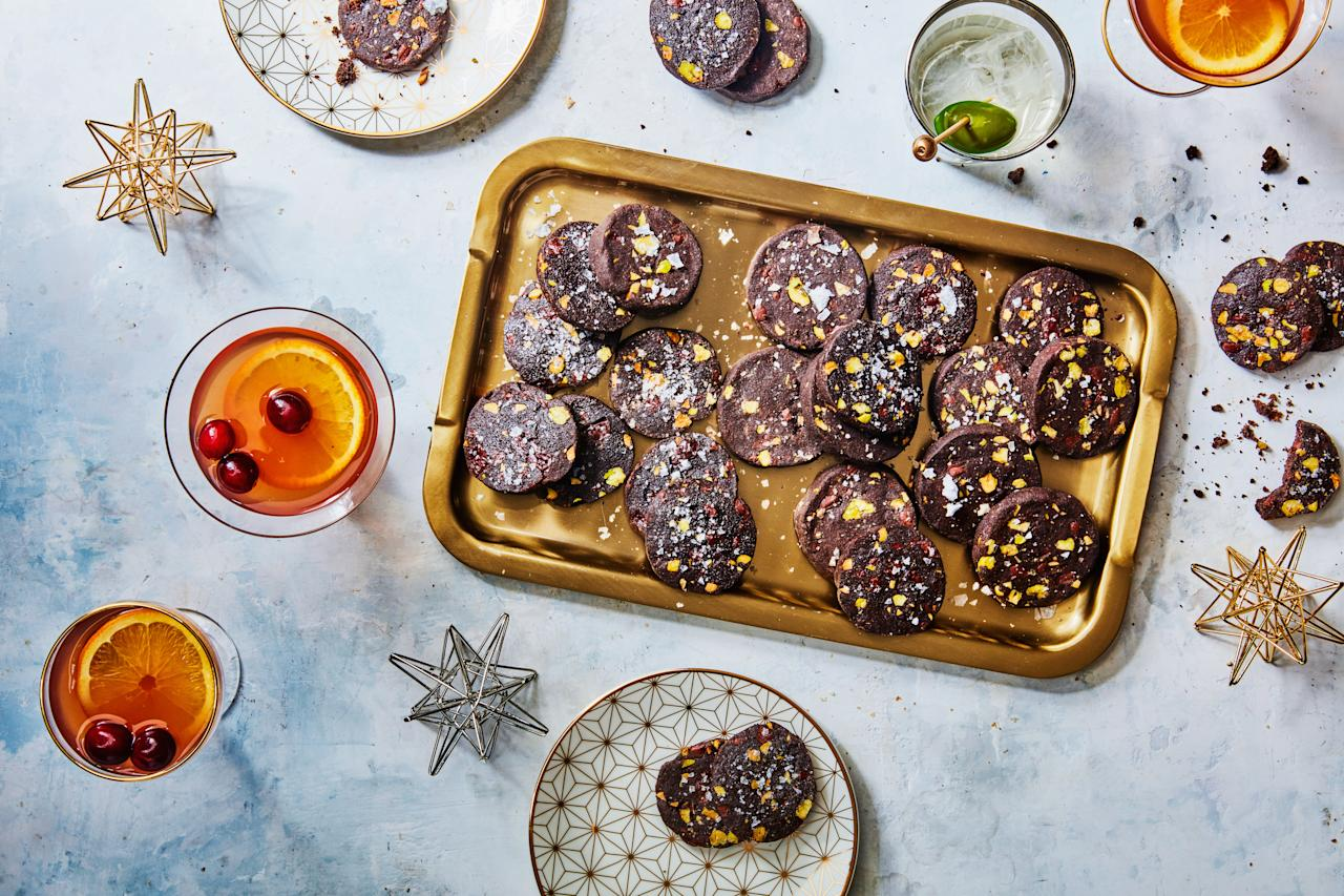 "Logs of slice-and-bakes—like these Chocolate–Pistachio Sablés—store easily in the freezer, so you can make them way ahead of time. And guess what? No need to defrost before slicing and zipping them into the oven. <a href=""https://www.epicurious.com/recipes/food/views/chocolate-pistachio-sables-51205610?mbid=synd_yahoo_rss"">See recipe.</a>"