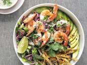 """<p>Chipotle's got nothin' on this taco bowl with creamy cilantro-yogurt dressing.</p><p>Get the recipe from <a href=""""https://www.delish.com/cooking/recipe-ideas/recipes/a47293/grilled-shrimp-taco-bowl-recipe/"""" rel=""""nofollow noopener"""" target=""""_blank"""" data-ylk=""""slk:Delish"""" class=""""link rapid-noclick-resp"""">Delish</a>.</p>"""