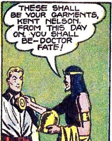 Nabu the Wise hands Kent Nelson his magical totems, deeming him Doctor Fate.