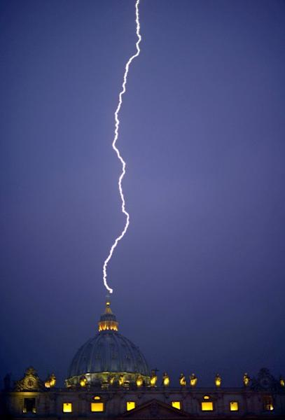 Lightning strikes St Peter's dome at the Vatican on February 11, 2013