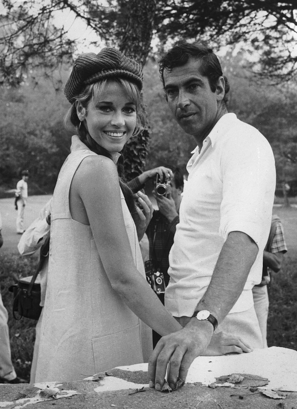 """<p>In August 1965, Jane married her first husband, <a rel=""""nofollow noopener"""" href=""""https://www.washingtonpost.com/archive/entertainment/books/1986/04/13/roger-vadim-an-eye-for-the-ladies/ed3a7b45-9d0f-4fe6-8144-4c8bf9bdaf00/?utm_term=.96f84717f54d"""" target=""""_blank"""" data-ylk=""""slk:prominent French film director Roger Vadim"""" class=""""link rapid-noclick-resp"""">prominent French film director Roger Vadim</a>. They tied the knot in a small ceremony at the Dunes Hotel in Las Vegas. At the time, Jane was 28; Roger was 10 years her senior and known for being a womanizer (Jane was actually his third wife). </p> <p>By the time he married Jane - who moved to Paris in the hopes of pivoting her reputation as the """"girl next door"""" to more serious, sexier roles - he had already had previous romances with other beautiful actresses like Brigitte Bardot and Cindy Pickett. He shared a son with French screen siren Catherine Deneuve, and a daughter, Nathalie, from a previous marriage with Danish actress Annette Stroyberg. Nathalie and Jane formed a sweet bond, and the then-teenager considered her a strong mother figure.</p>"""