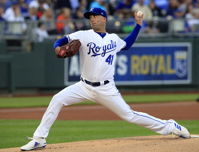 Kansas City Royals starting pitcher Danny Duffy delivers to a Detroit Tigers batter during the first inning of a baseball game at Kauffman Stadium in Kansas City, Mo., Wednesday, June 12, 2019. (AP Photo/Orlin Wagner)