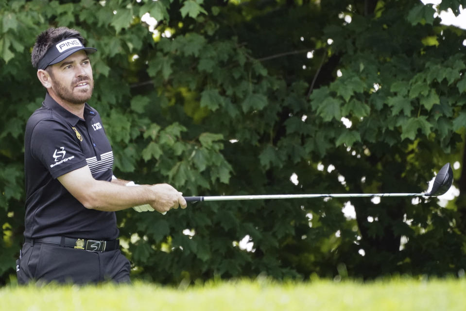 Louis Oosthuizen plays a shot off the 12th tee during practice for the U.S. Open Championship golf tournament at Winged Foot Golf Club, Wednesday, Sept. 16, 2020, in Mamaroneck, N.Y. (AP Photo/John Minchillo)
