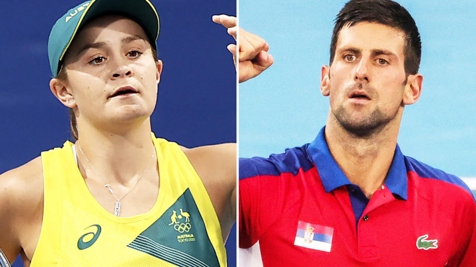 Ash Barty and Novak Djokovic, pictured here in action at the Olympics.