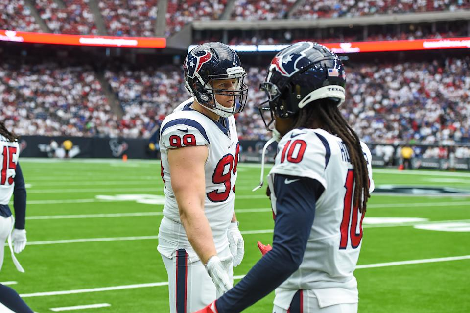 J.J. Watt came oh so close to criticizing Texans management over the Deandre Hopkins deal. (Daniel Dunn/Icon Sportswire via Getty Images)