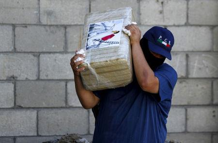 FILE PHOTO: An agent of the office of the Attorney General of Mexico carries a package of seized marijuana at the site of a passageway Mexican authorities on Thursday attributed to the cartel of fugitive kingpin Guzman in Tijuana