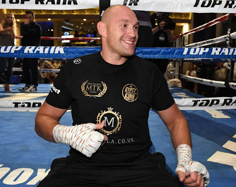 LAS VEGAS, NEVADA - JUNE 11: Boxer Tyson Fury is interviewed after working out at MGM Grand Hotel & Casino on June 11, 2019 in Las Vegas, Nevada. Fury will face Tom Schwarz in a heavyweight bout on June 15 at MGM Grand Garden Arena in Las Vegas. (Photo by Ethan Miller/Getty Images)