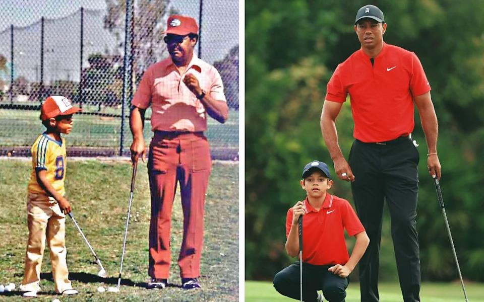 Left: A young Woods being mentored by his father; right: Playing golf with his son Charlie in Florida, 2020 - Getty Images