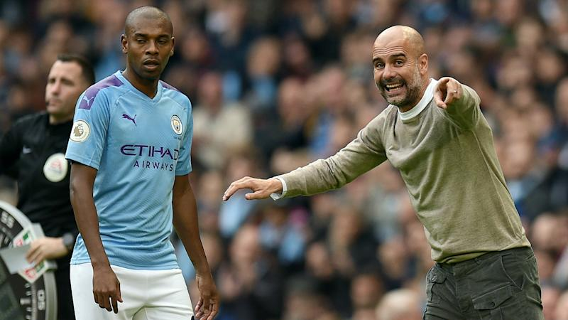 Pep Guardiola Fernandinho Man City vs Wolves 2019-20