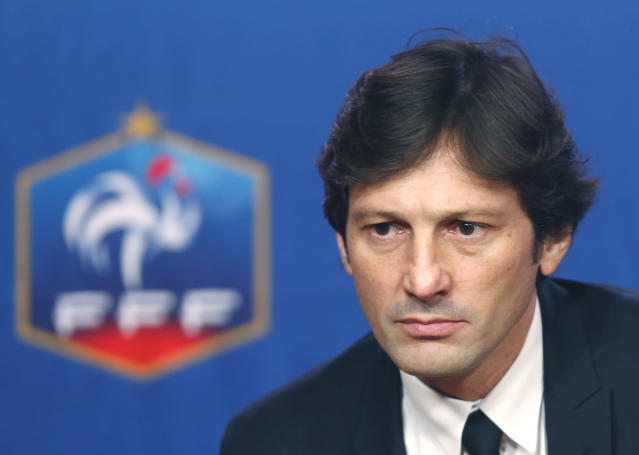 FILE - In this file photo dated Thursday, Dec 17, 2015, former Paris Saint-Germain's sport director Leonardo, of Brazil, attends a press conference at the French Football Federation (FFF) headquarters in Paris. PSG announced Friday June 14, 2019, the return of Leonardo appointed as as Paris Saint-Germains new sporting director. (AP Photo/Jacques Brinon, FILE)