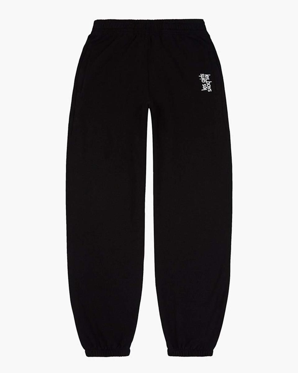 "<br><br><strong>Les Girls Les Boys</strong> Loose Fit Track Pants Black, $, available at <a href=""https://lesgirlslesboys.com/products/loose-fit-track-pants-black?variant=32354388049955&currency=GBP&gclid=Cj0KCQiAhP2BBhDdARIsAJEzXlHXMvgCY9L4UJvAc5-gNpZWPQzbH2vVuZnNvwvM9vTuDZKyvWlAxP4aAg8tEALw_wcB"" rel=""nofollow noopener"" target=""_blank"" data-ylk=""slk:Les Girls Les Boys"" class=""link rapid-noclick-resp"">Les Girls Les Boys</a>"