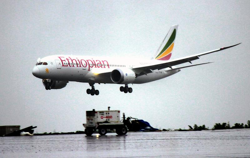 FILE - In this Friday, Aug.17, 2012 file photo, an Ethiopian Airlines Dreamliner Boeing 787 lands at Bole International airport in Addis Ababa, Ethiopia. A senior Ethiopian Airlines official said Thursday, Dec. 13, 2012 that a merger proposal made recently by the chief executive of Kenya Airways is not practical. (AP Photo/Elias Asmare, File)
