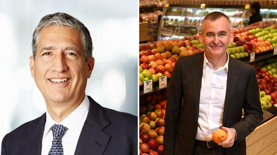 Orica chief executive Alberto Calderon on the left and Woolworths' Brad Banducci on the right.