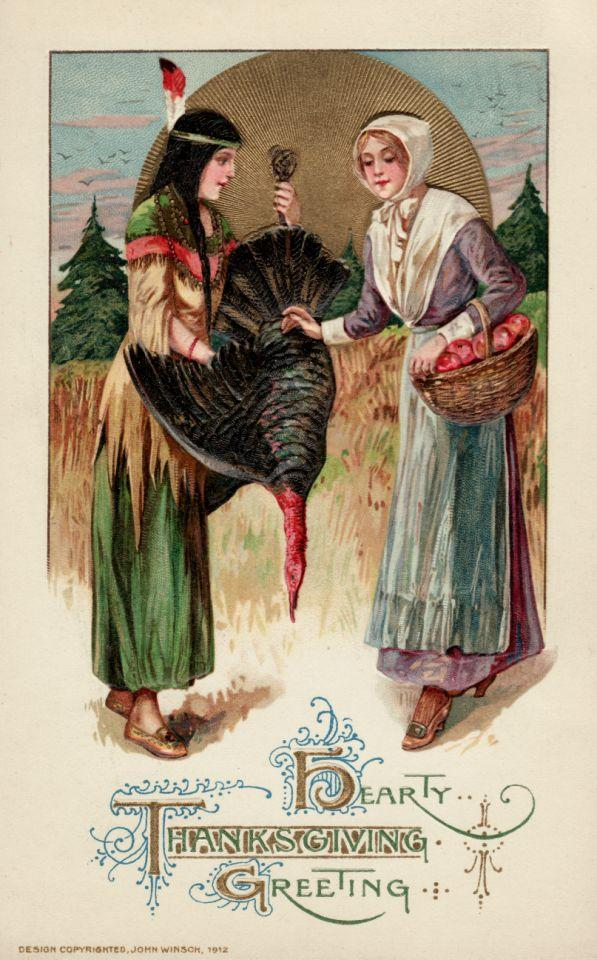 ca. 1912 — A postcard with a Native Ameircan woman presenting a turkey to a Pilgim woman for the first Thanksgiving feast. — Image by © Trolley Dodger/Corbis