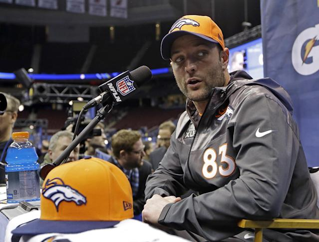 Denver Broncos' Wes Welker answers a question during media day for the NFL Super Bowl XLVIII football game Tuesday, Jan. 28, 2014, in Newark, N.J. (AP Photo/Mark Humphrey)