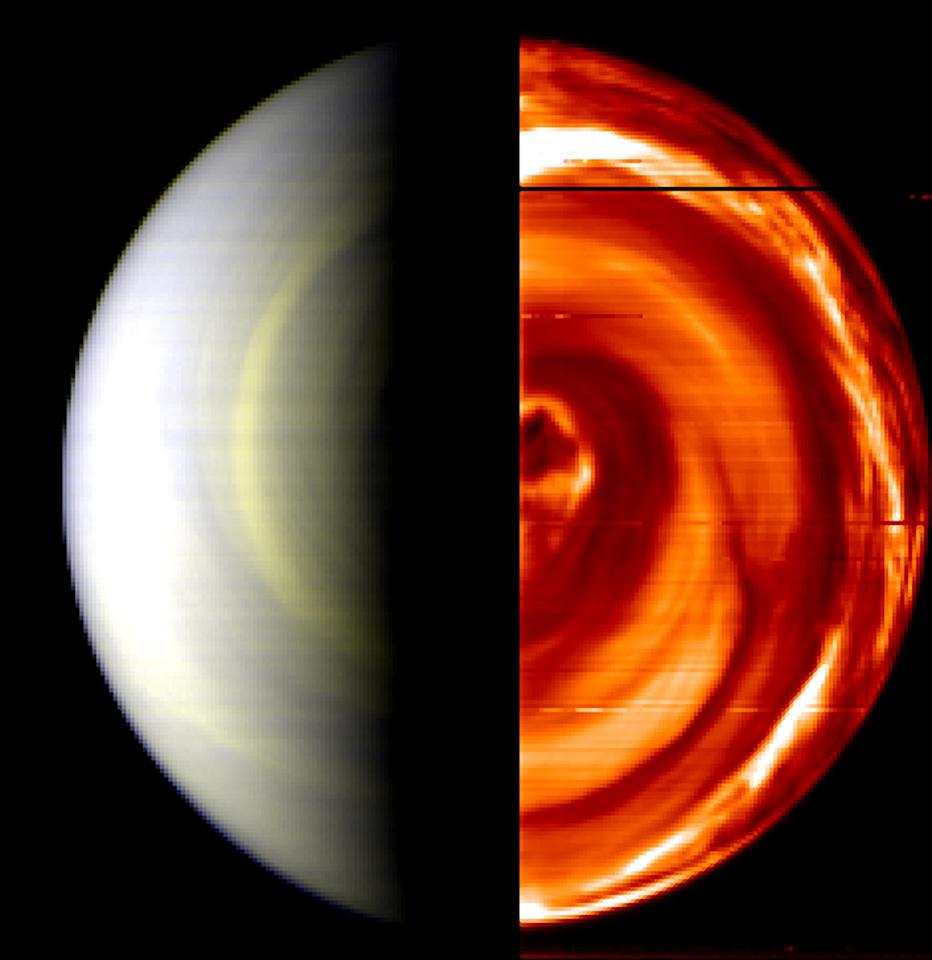 IN SPACE - APRIL 12:  In this handout composite image provided by the European Space Agency, the south pole of the planet Venus is seen in a false-color view provided by the Venus Express space probe April 12, 2006. This image, one of the first captured of the planet's south pole, shows the planet's day side  at left and night side at right.  The views were captured by VIRTIS (Visible and Infrared Thermal Imaging Spectrometer).  (Image by European Space Agency via Getty Images)