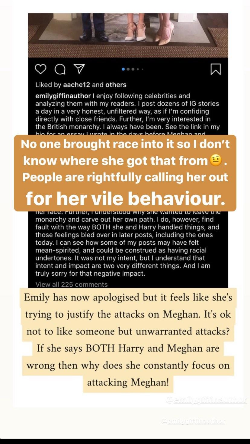 Emily shared an apology on Instagram, however, some were confused about why she brought the issue of race into it. Photo: Instagram/_duchess_of_sussex