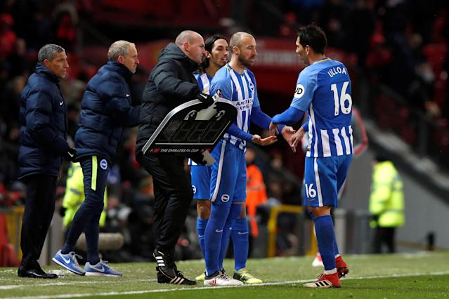 Soccer Football - FA Cup Quarter Final - Manchester United vs Brighton & Hove Albion - Old Trafford, Manchester, Britain - March 17, 2018 Brighton's Glenn Murray comes on as a substitute to replace Leonardo Ulloa REUTERS/Andrew Yates