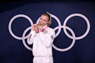 <p>TOKYO, JAPAN - AUGUST 02: Gold Medalist Jade Carey of Team USA poses with her medal after winning the Women's Floor Final on day ten of the Tokyo 2020 Olympic Games at Ariake Gymnastics Centre on August 02, 2021 in Tokyo, Japan. (Photo by Laurence Griffiths/Getty Images)</p>