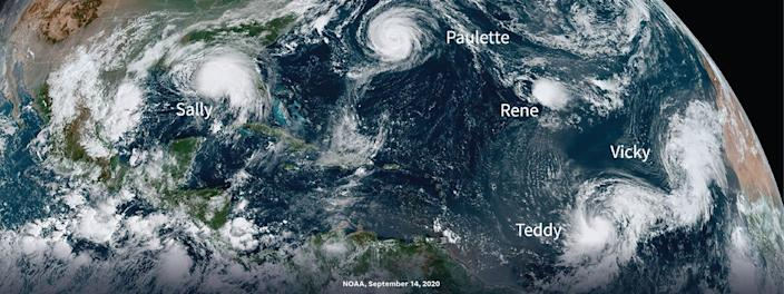 NOAA satellite image of hurricanes in 2020