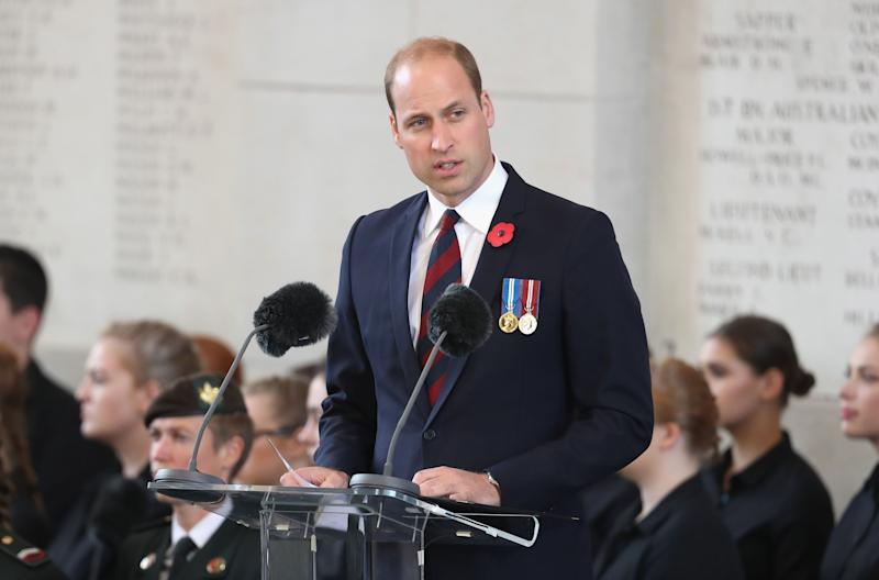 <strong>The Duke of Cambridge speaks at the Last Post ceremony, which has taken place every night since 1928, at the Commonwealth War Graves Commission Ypres, Menin Gate Memorial as part of the Passchendaele commemorations.</strong> (PA Wire/PA Images)