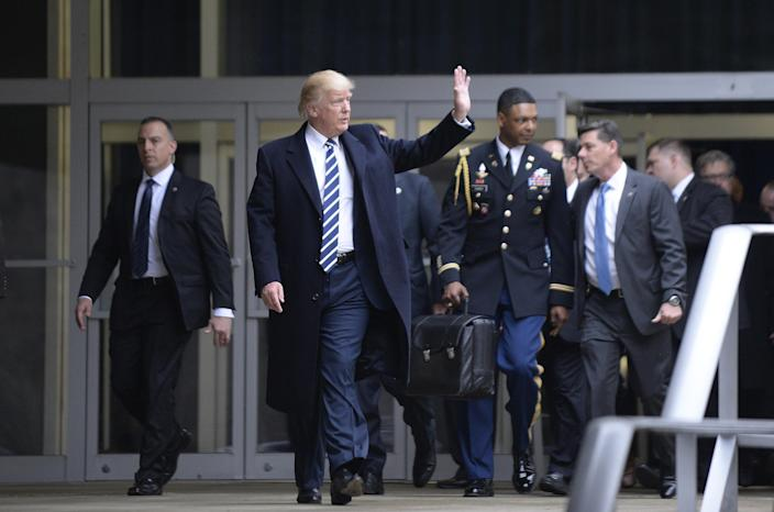 <p>Trump will take nuclear football out of DC on his final day in office</p> (Olivier Doulier - Pool/Getty Images)