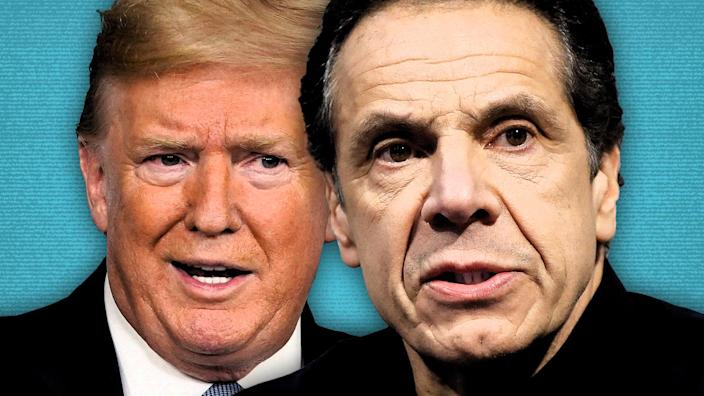 President Trump and New York Gov. Andrew Cuomo. (Photo illustration: Yahoo News; photos: AP)