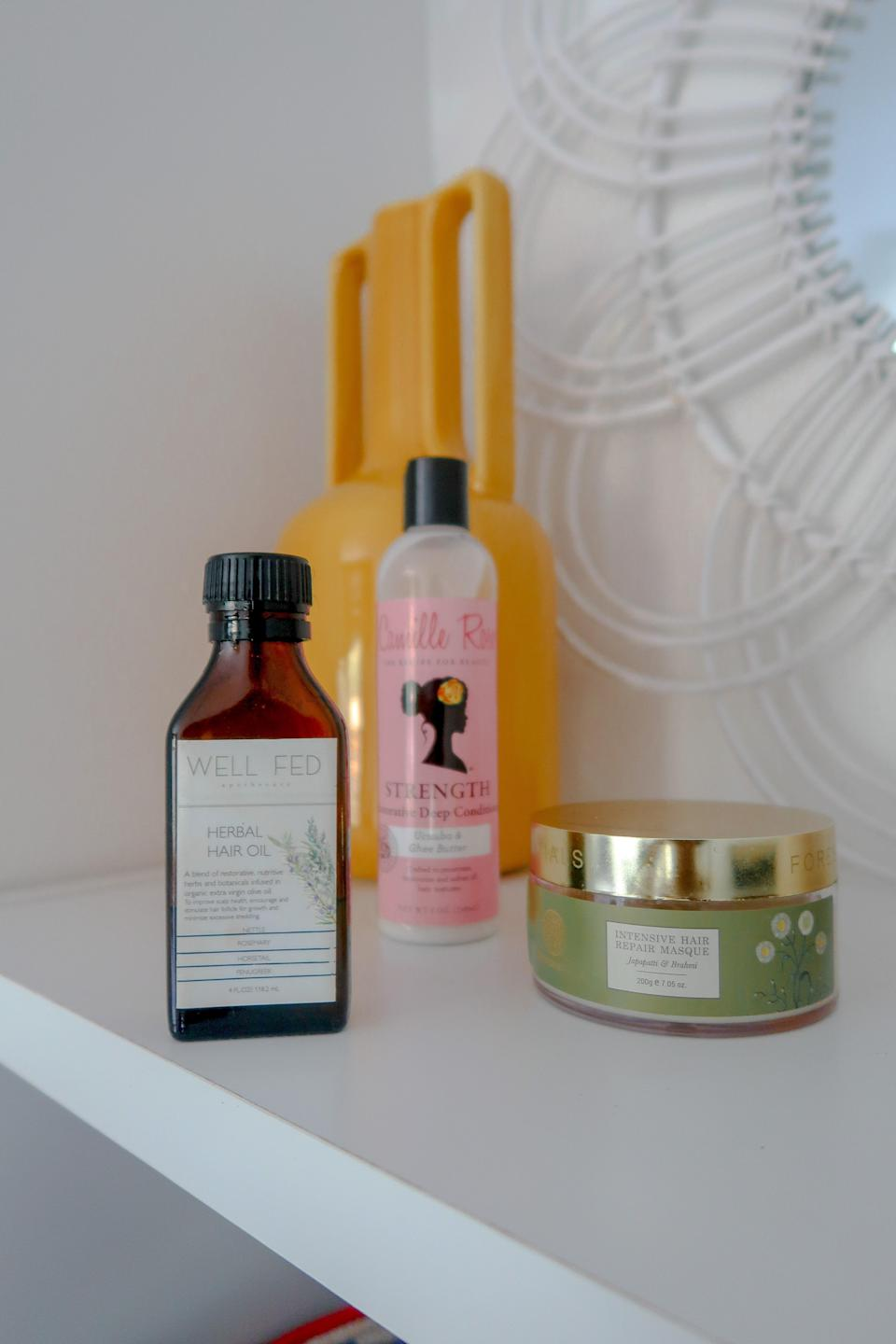 """""""My go-tos: a pre-shampoo mask, a nutrient dense deep conditioner, and herbal hair oil."""""""