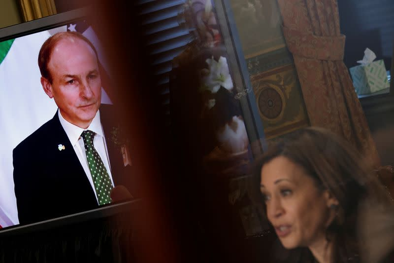 Vice President Kamala Harris holds a bilateral meeting with Ireland's Prime Minister Micheal Martin at the White House in Washington