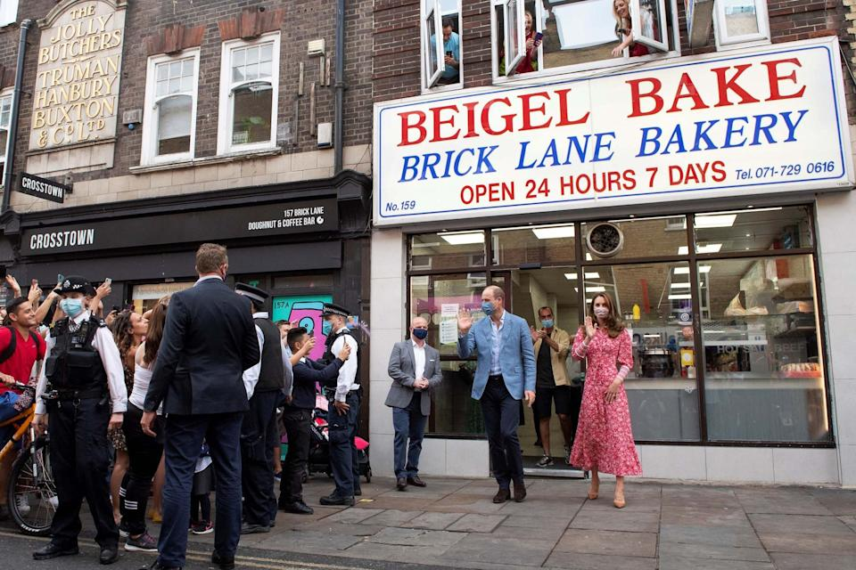 The Duke and Duchess of Cambridge leave after a visit to the Beigel Bake Brick Lane Bakery (PA)