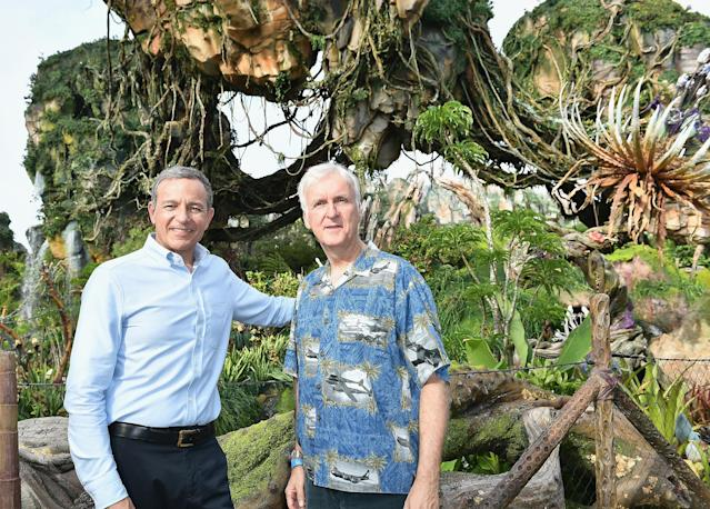 Bob Iger and James Cameron attend the Pandora The World Of Avatar Dedication on May 23, 2017. (Gustavo Caballero/Getty Images)