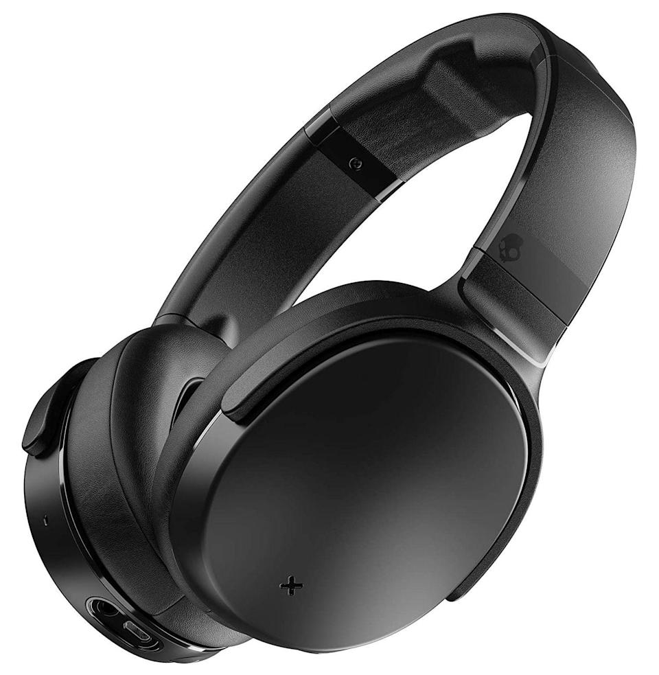"""<p><strong>Skullcandy</strong></p><p>amazon.com</p><p><strong>$89.99</strong></p><p><a href=""""https://www.amazon.com/dp/B07HBLQ9PQ?tag=syn-yahoo-20&ascsubtag=%5Bartid%7C10054.g.33338048%5Bsrc%7Cyahoo-us"""" rel=""""nofollow noopener"""" target=""""_blank"""" data-ylk=""""slk:Buy"""" class=""""link rapid-noclick-resp"""">Buy</a></p><p>Skullcandy, the brand you snagged in the drug store checkout line when you were 14 to plug into your MP3 player on school bus rides, makes a strong contender that's not impossibly expensive. The active noise cancellation is surprisingly effective for the price—it blocks a lot and only produces a little of that ANC static sound—and turning it off to hear your surroundings is as easy as pressing a button on the left ear. They're comfy headphones too. Good for commutes (remember those?) or extended wear to keep you distraction-free during work hours.</p><p><em>Battery Life: 24 hours</em></p>"""
