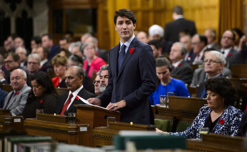 Canadian Prime Minister Justin Trudeau on Nov. 7 delivers a formal apology on behalf of his nation for turning away a ship full of Jewish refugees trying to flee Nazi Germany in 1939. (ASSOCIATED PRESS)