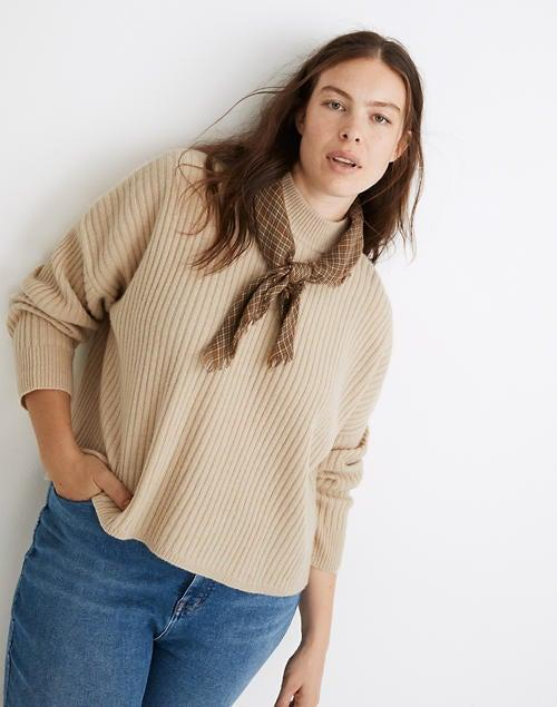 """<br><br><strong>Madewell</strong> (Re)sourced Cashmere Ribbed Mockneck Pullover Sweater, $, available at <a href=""""https://go.skimresources.com/?id=30283X879131&url=https%3A%2F%2Fwww.madewell.com%2F%2528re%2529sourced-cashmere-ribbed-mockneck-pullover-sweater-MA728.html"""" rel=""""nofollow noopener"""" target=""""_blank"""" data-ylk=""""slk:Madewell"""" class=""""link rapid-noclick-resp"""">Madewell</a>"""