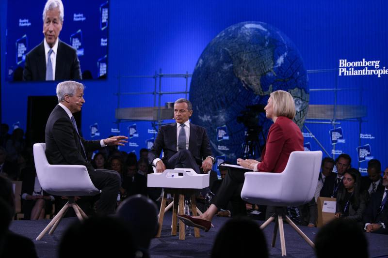 Francine Lacqua of Bloomberg TV with Bob Iger, Chairman and CEO of The Walt Disney Company, and Jamie Dimon, Chairman and CEO of JPMorgan Chase, at the 3rd annual Bloomberg Global Business Forum in New York City on September 25, 2019 at The Plaza Hotel. (Source: Bloomberg Philanthropies)